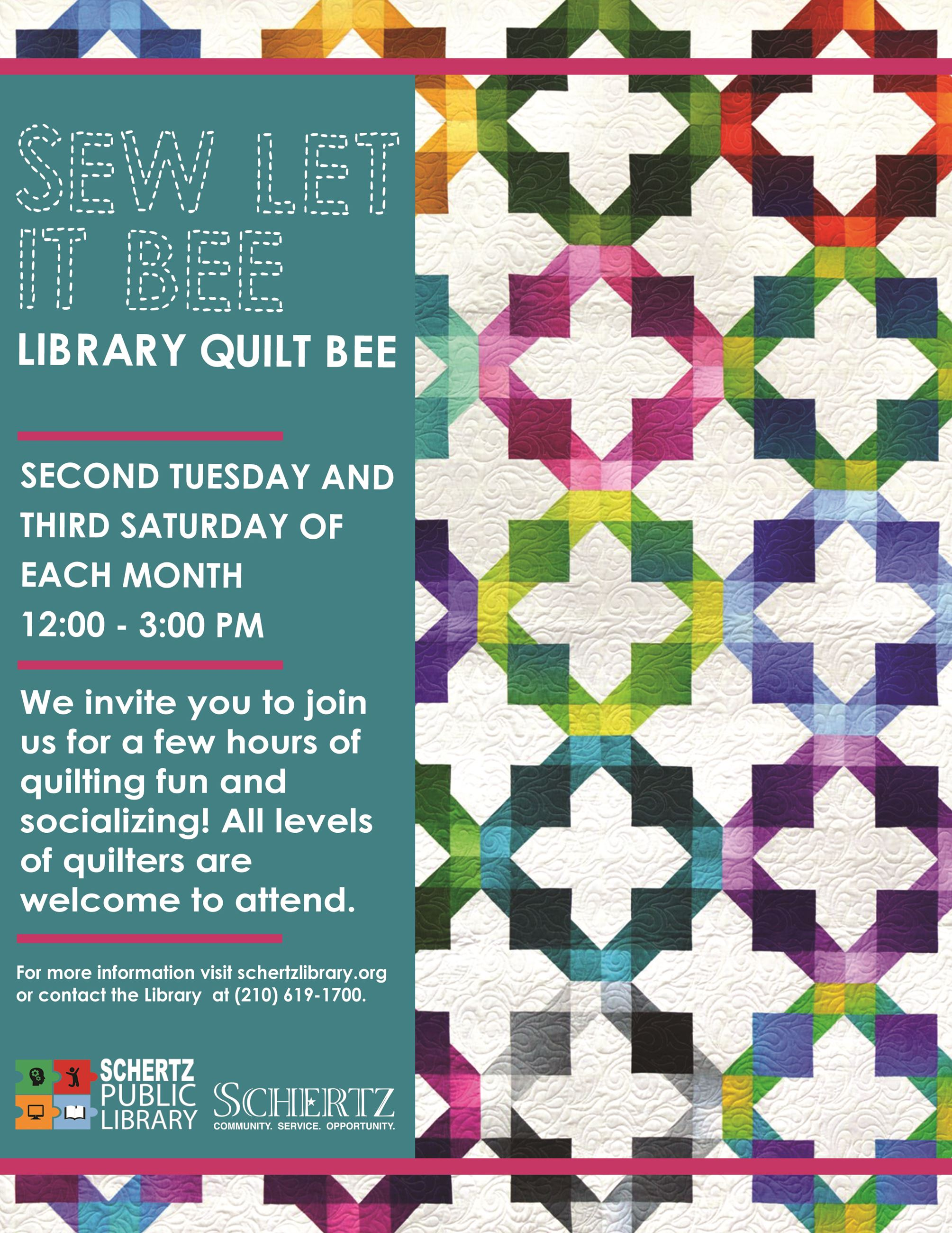 Library Quilt Bee Flyer