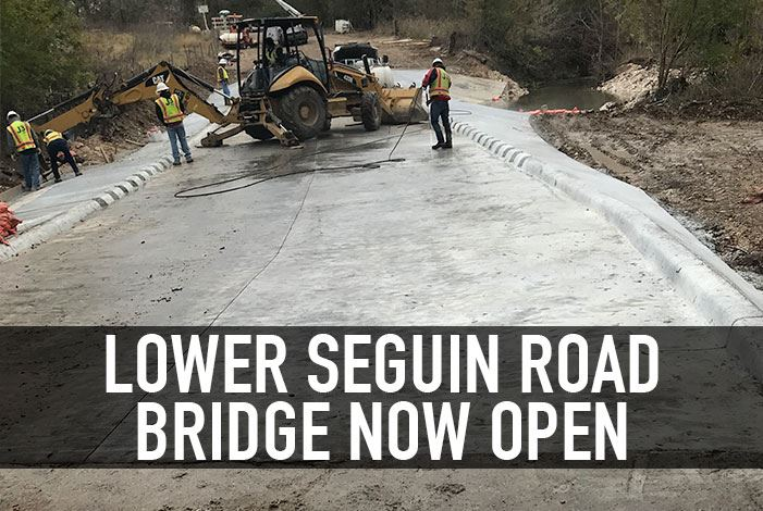 Lower Seguin Road Bridge Now Open